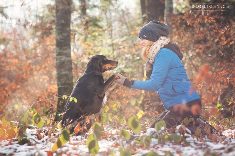 Chien de chasse avec sa maîtresse sous la neige