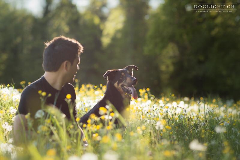 Photographe chien et son maître