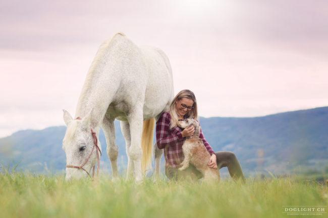 Photographe cheval et chien avec jeune fille