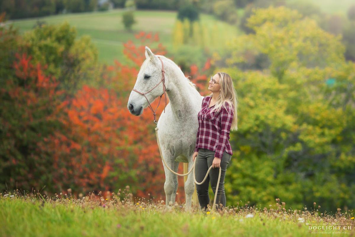 Photo portrait cheval et femme