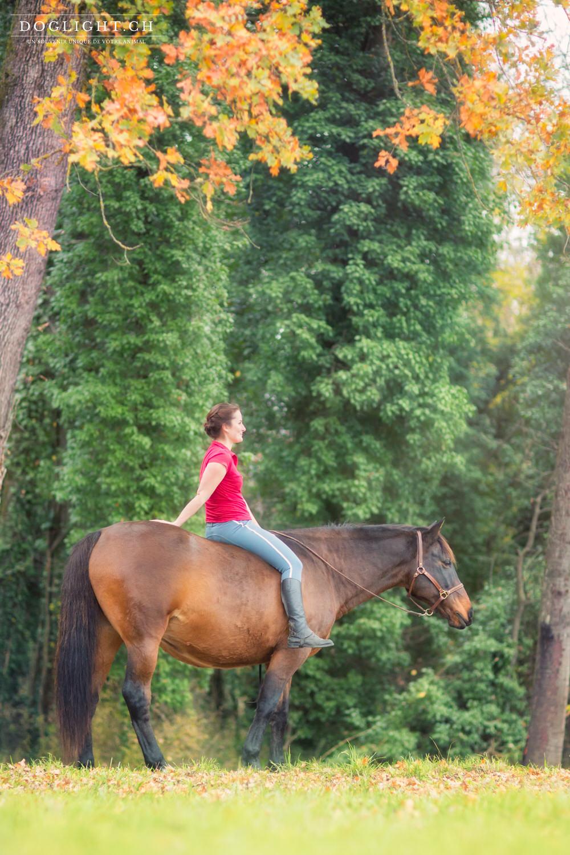 Femme et cheval dans les paysages d'automne en savoie