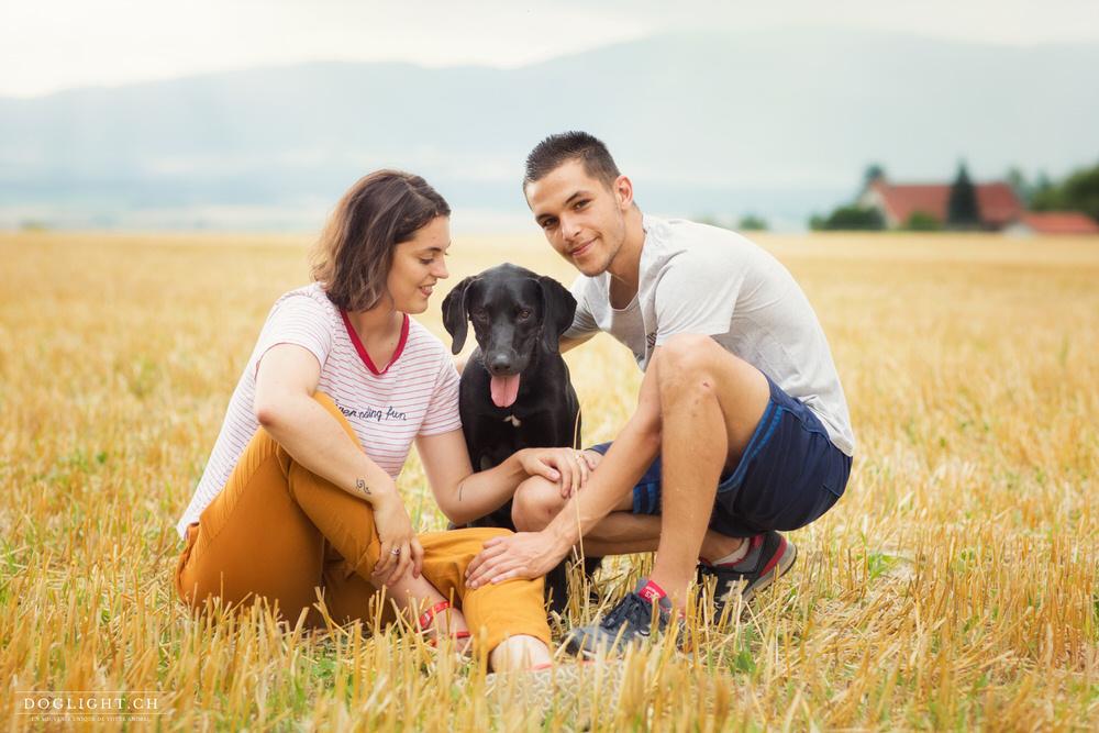 Photo couple avec chien labrador dans le blé