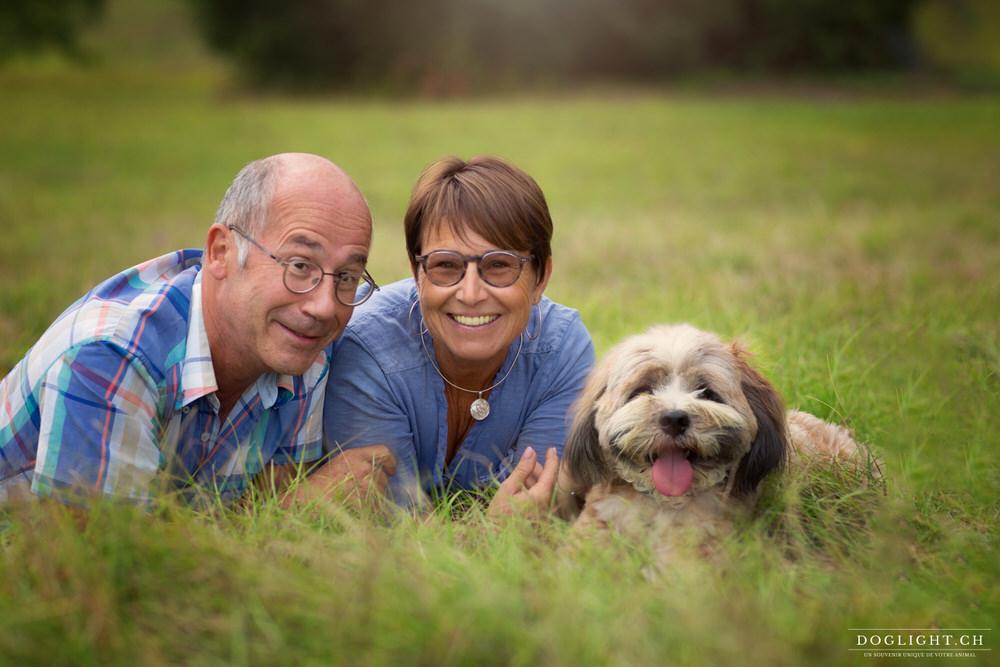 Couple d'Yverdon avec chien de berger