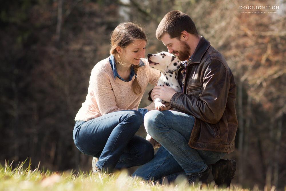 Couple avec bébé dalmatien de Neuchâtel