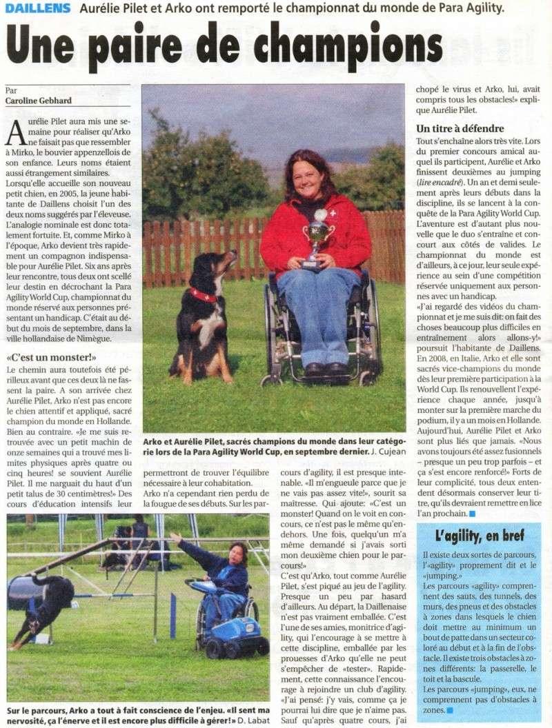 Article champions du monde agility handicap Aurélie et Arko
