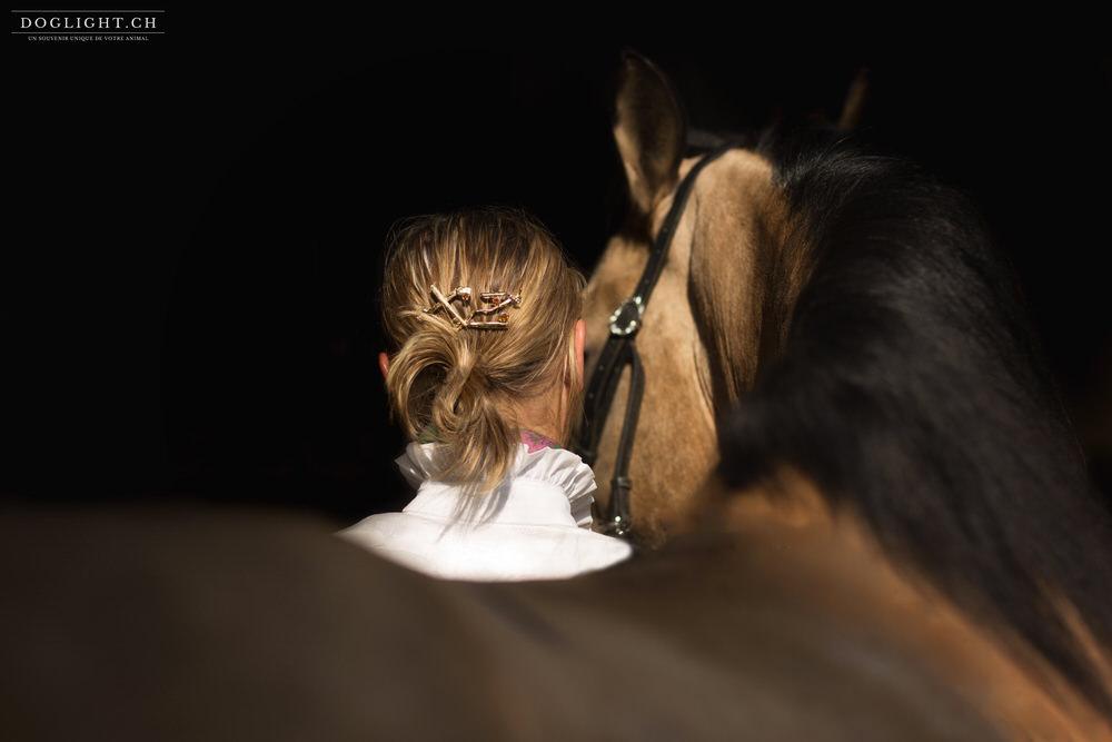 Broche cheveux cavalier et cheval