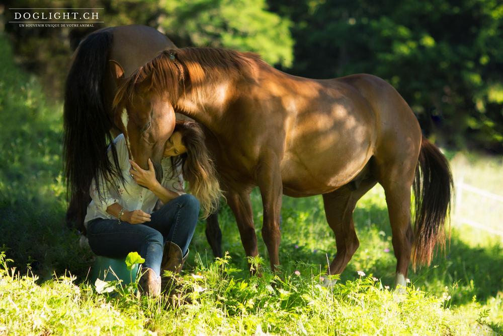 Complicité avec un cheval en Valais