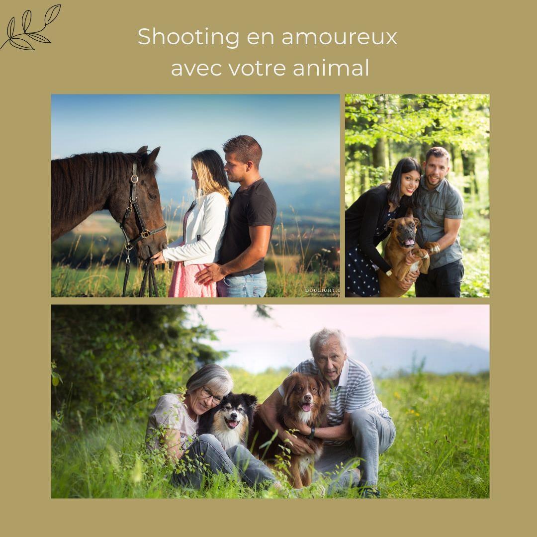 Shooting couple avec son chien ou son cheval pour la saint-valentin